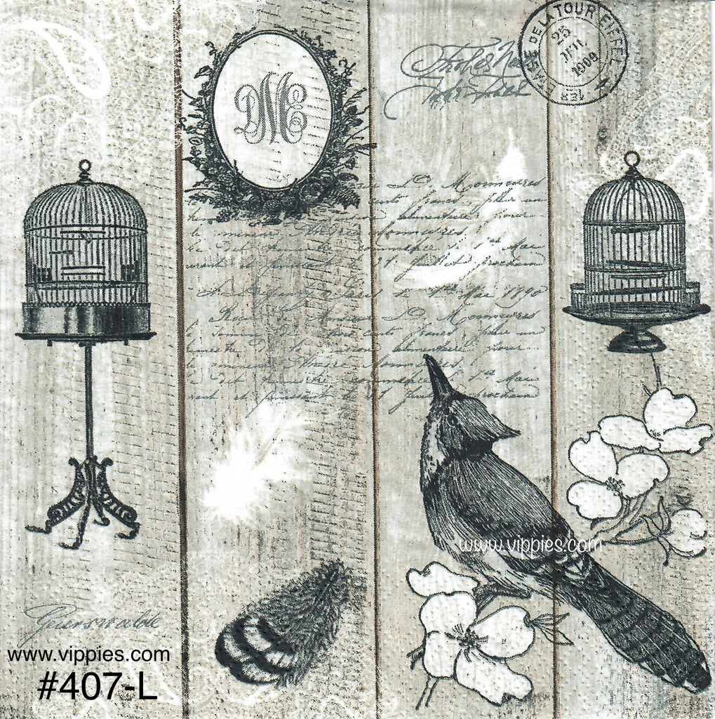 BB-407 Bird Cage Black and White Napkin for Decoupage