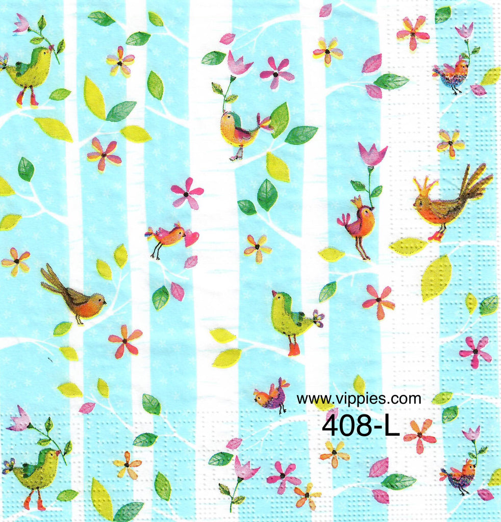 BB-408 Tiny Birds Stripes Napkin for Decoupage