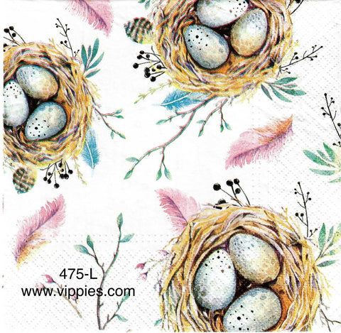 BB-475 Robin Eggs in Nest Napkin for Decoupage