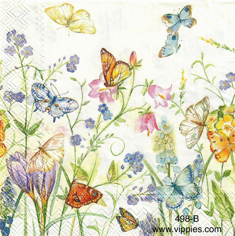 BB-498 Butterflies and Blooms Napkin for Decoupage