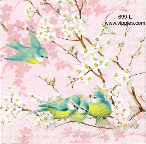 BB-699 Blue Birds on Pink Napkin for Decoupage