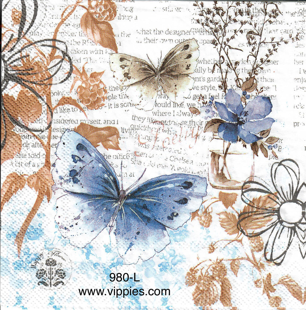 BB-980 Blue Butterfly Collage Napkin for Decoupage
