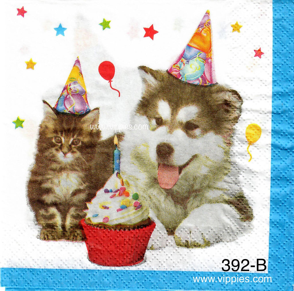 BDAY-392 Pup and Kitty Cupcake Napkin for Decoupage