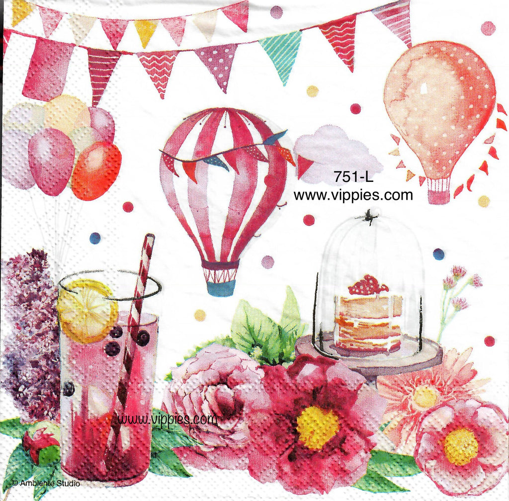 BDAY-751 Pink Lemonade Balloon Cake Napkin for Decoupage