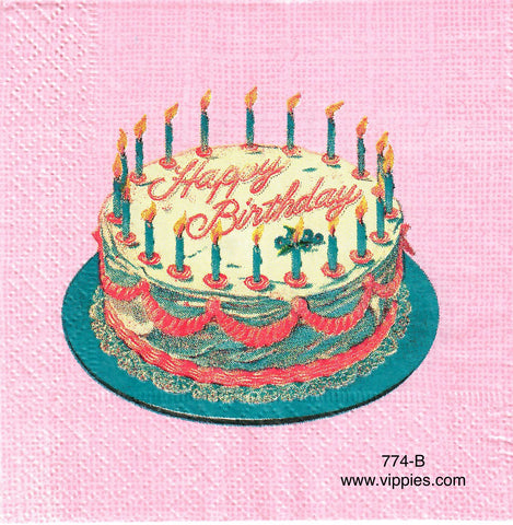 BDAY-774 Birthday Cake Candles Napkin for Decoupage
