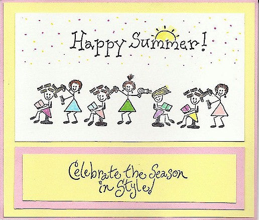 Happy Summer Sun Rubber Stamp 2482F