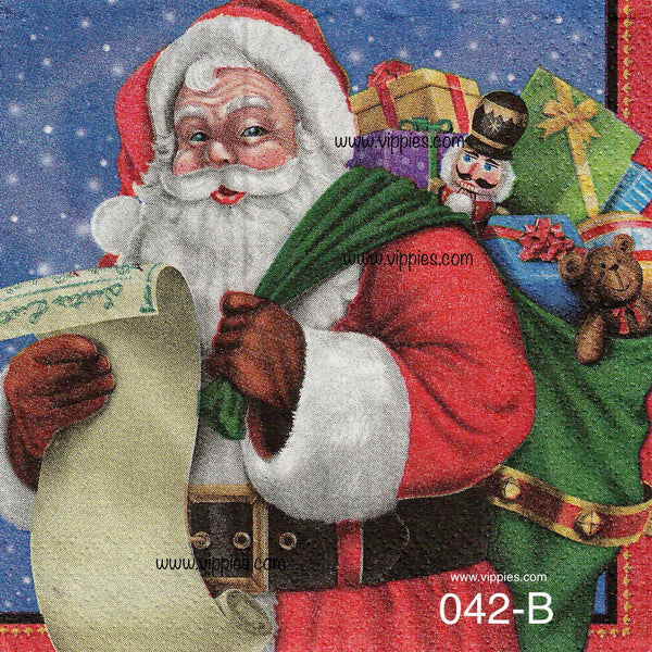 C-042 Santa List Napkin for Decoupage