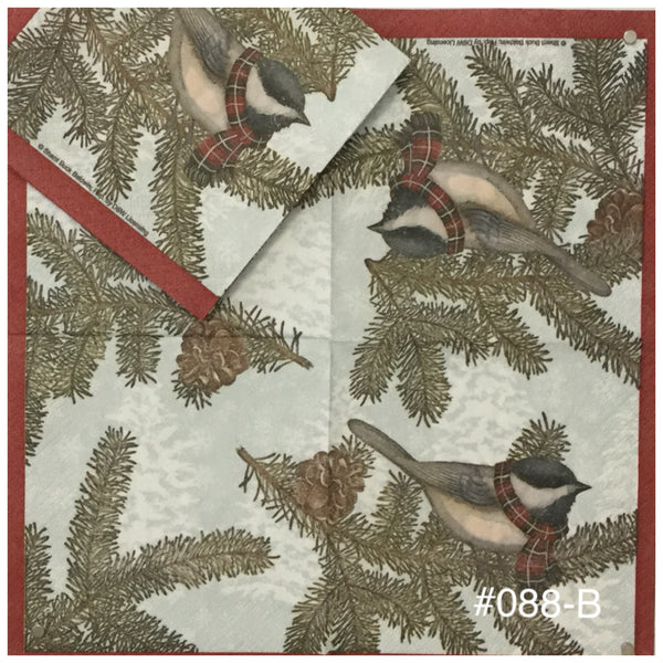 C-088 Christmas Bird Pine Napkin for Decoupage