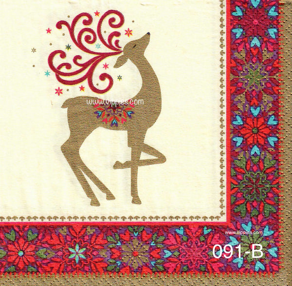 C-091 Christmas Gold Deer Napkin for Decoupage