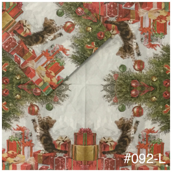 C-092 Cat with Ornament Napkin for Decoupage