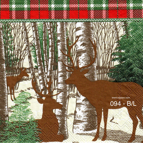 C-094 Winter Woods Deer Napkin for Decoupage