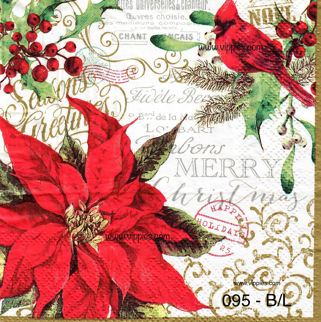 C-095 Poinsettia Cardinal Napkin for Decoupage