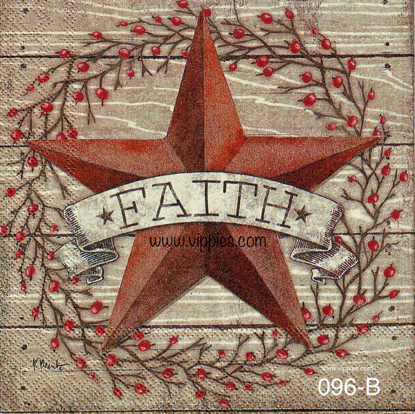 C-096 Faith Barn Star Napkin for Decoupage