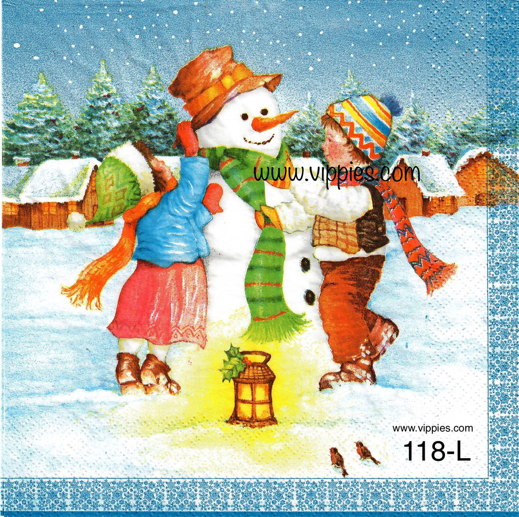 C-118 Kids Snowman Napkin for Decoupage
