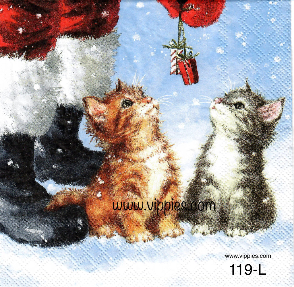 C-119 Two Kittens Presents Santa Napkin for Decoupage