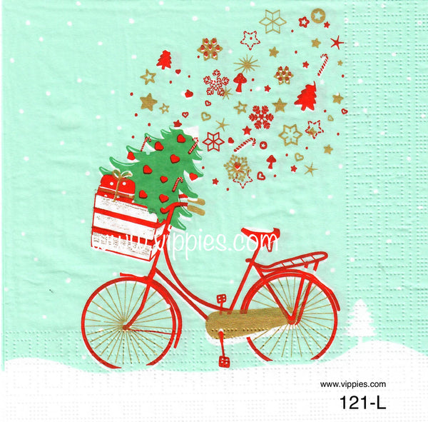 C-121 Christmas Bike Napkin for Decoupage