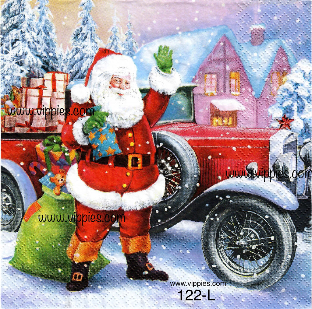 C-122 Santa Vintage Car Napkin for Decoupage