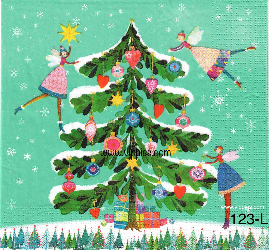C-123 Christmas Tree Fairies Napkin for Decoupage