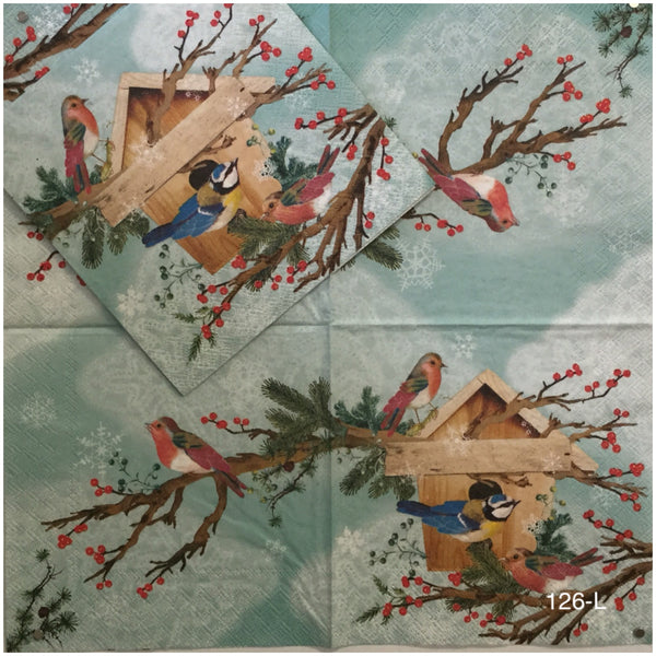 C-126 Christmas Bird House Napkin for Decoupage