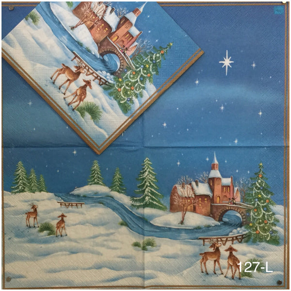 C-127 Winter Fawn Scene Napkin for Decoupage