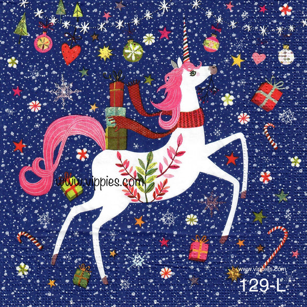 C-129 Christmas Unicorn Napkin for Decoupage
