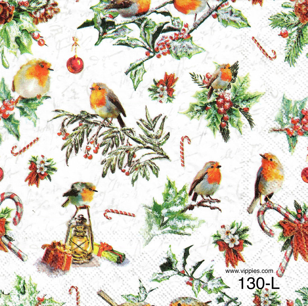 C-130 Birds and Ornaments Napkin for Decoupage