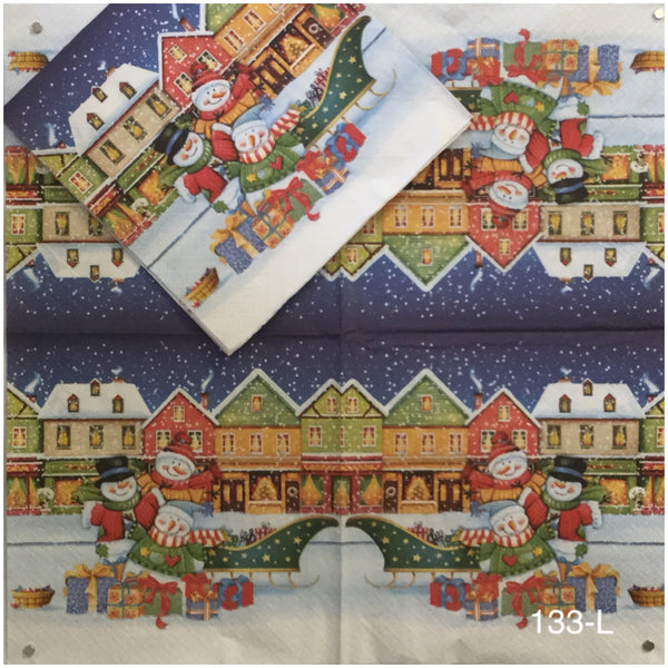 C-133 Snowfamily Town Napkin for Decoupage