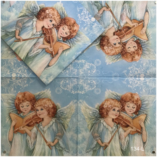 C-134 Musical Angels Napkin for Decoupage