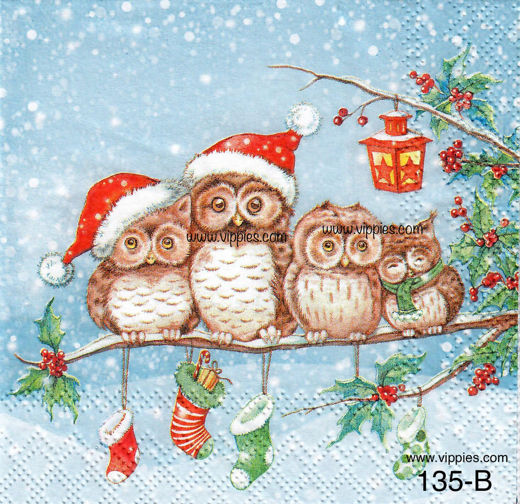 C-135 Owls on Branch with Stockings Napkin for Decoupage