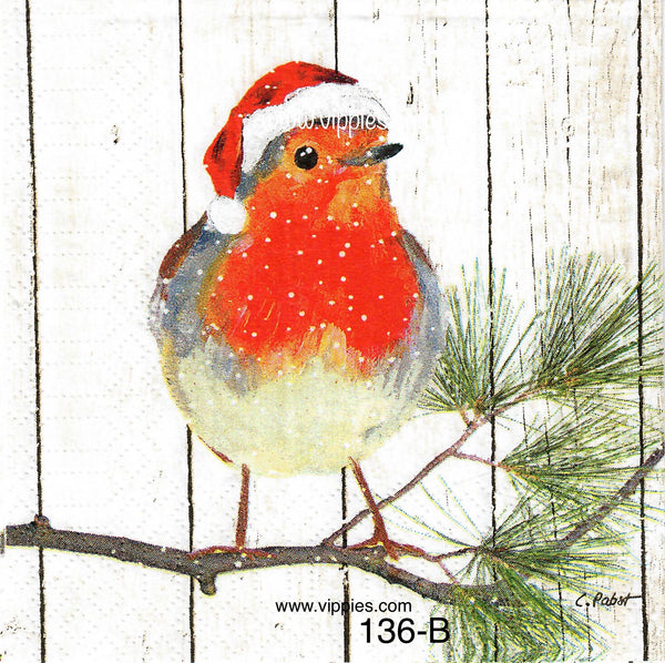 C-136 Robin on Pine Branch Napkin for Decoupage