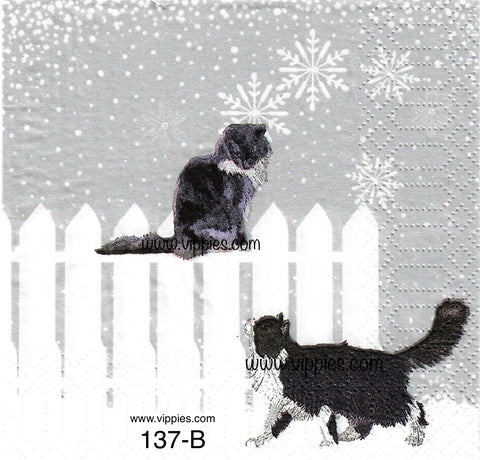 C-137 Snowfall Cats Napkin for Decoupage