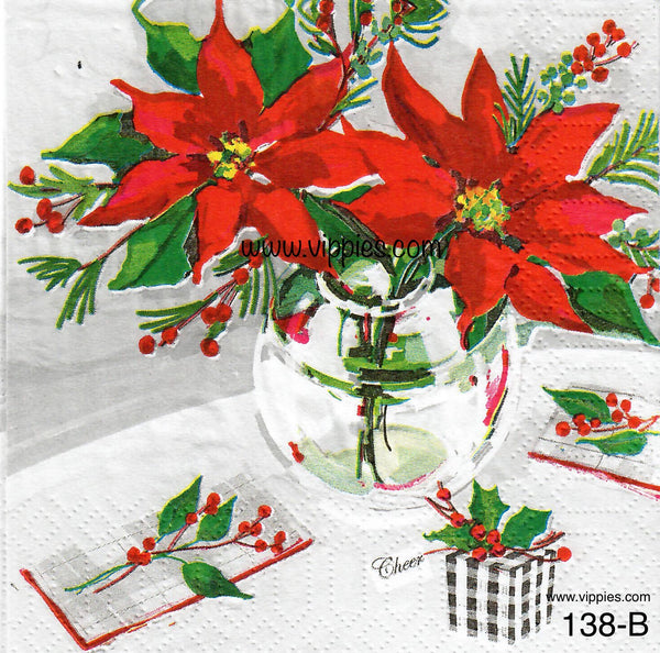 C-138 Poinsettia Table Napkin for Decoupage