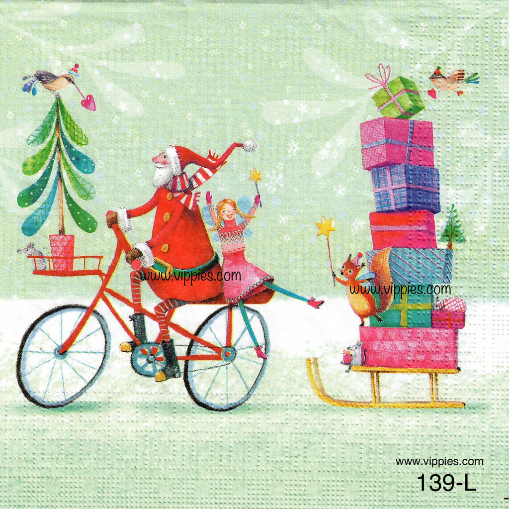 C-139 Santa on Bike Pulling Sled Napkin for Decoupage