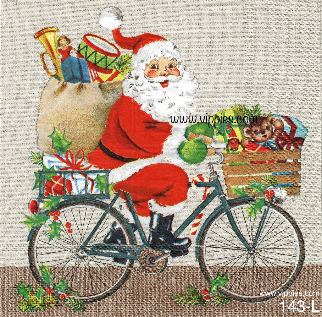 C-143 Santa Riding Bicycle Loaded with Toys Napkin for Decoupage