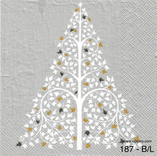 C-187 Silver Tree Napkin for Decoupage