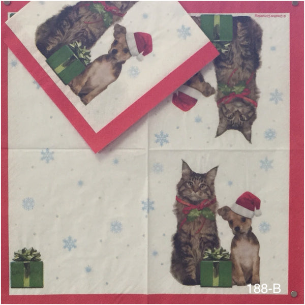 C-188 Jolly Pets Napkin for Decoupage