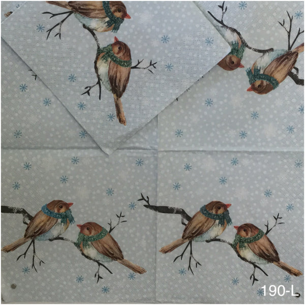 C-190 Two Christmas Birds Napkin for Decoupage