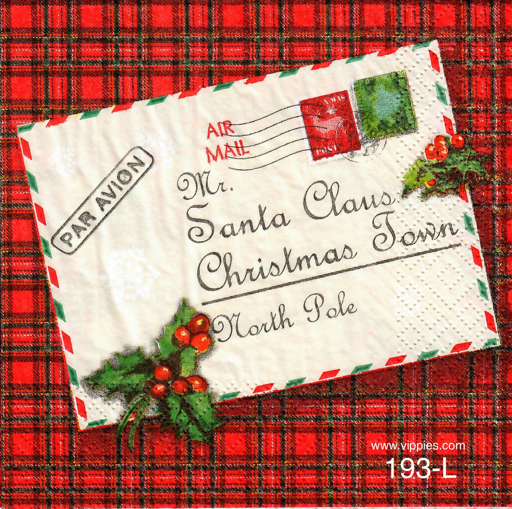C-193 Christmas Postcard Napkin for Decoupage