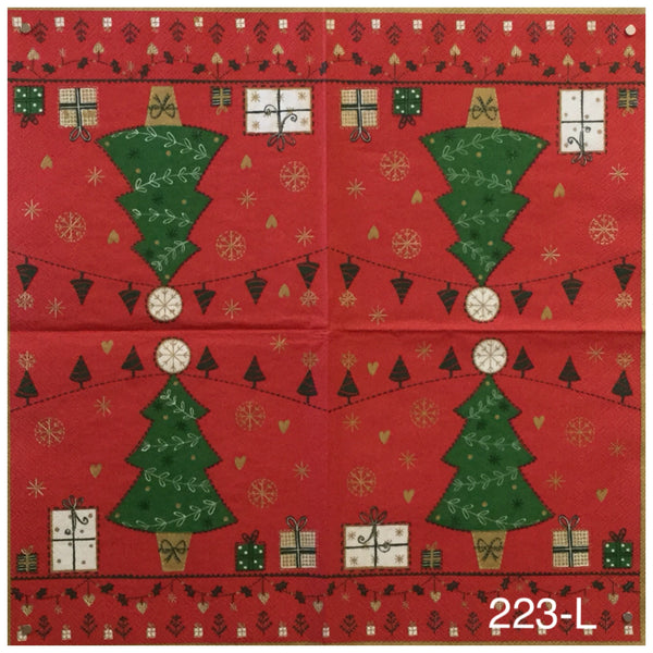 C-223 Christmas Tree Red Napkin for Decoupage