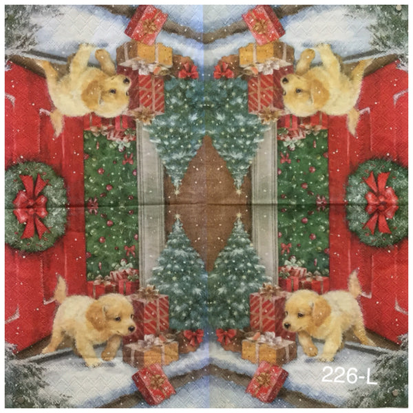 C-226 Puppy by Front Door Napkin for Decoupage