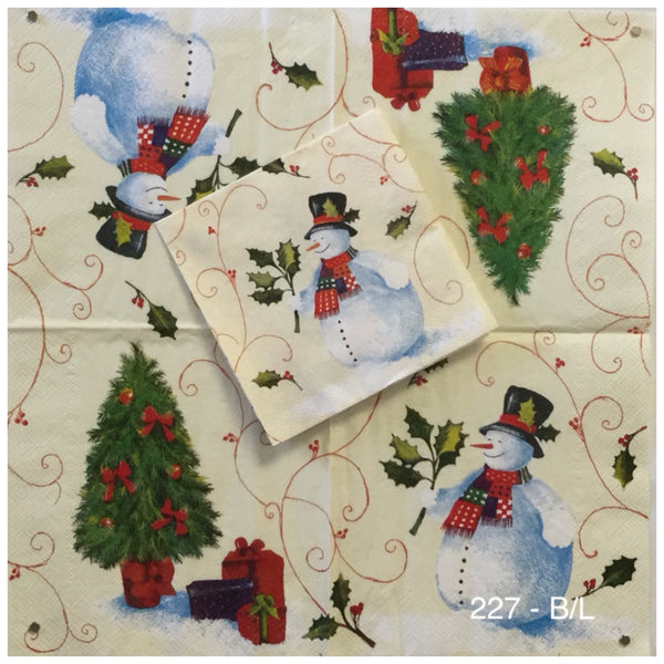 C-227 Snowman Holly Tree Napkin for Decoupage