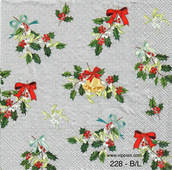 C-228 Silver Holly Bows Napkin for Decoupage
