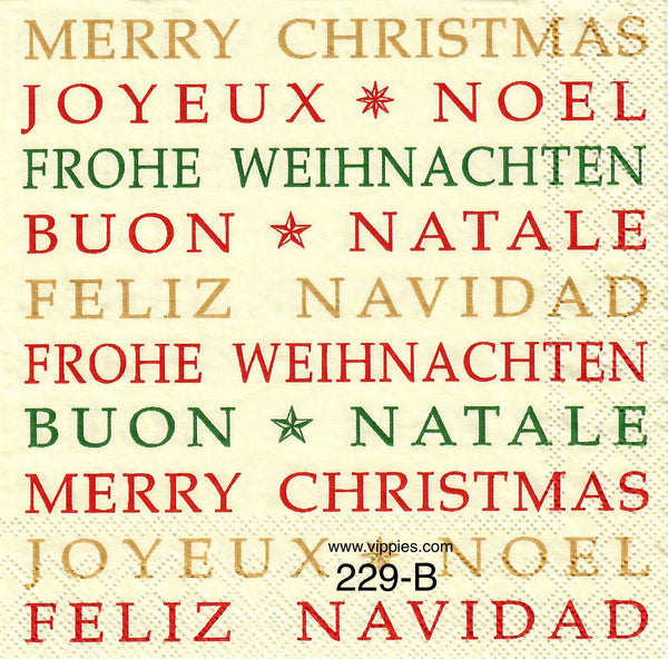 C-229 Merry Christmas Languages Napkin for Decoupage