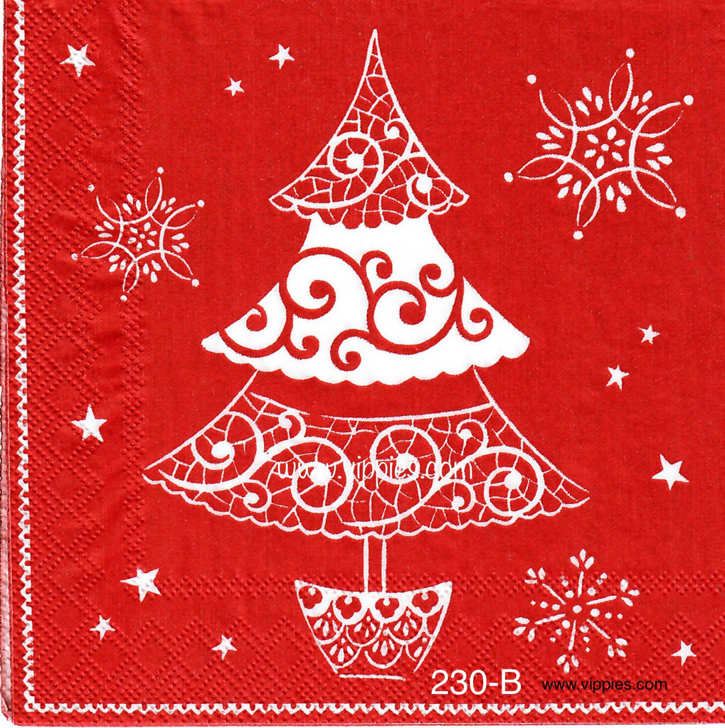 C-230 White Lacy Tree Red Background Napkin for Decoupage