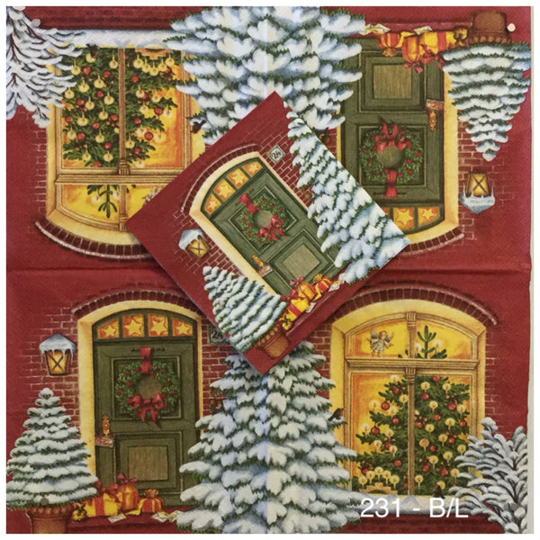 C-231 Christmas Door Window Napkin for Decoupage