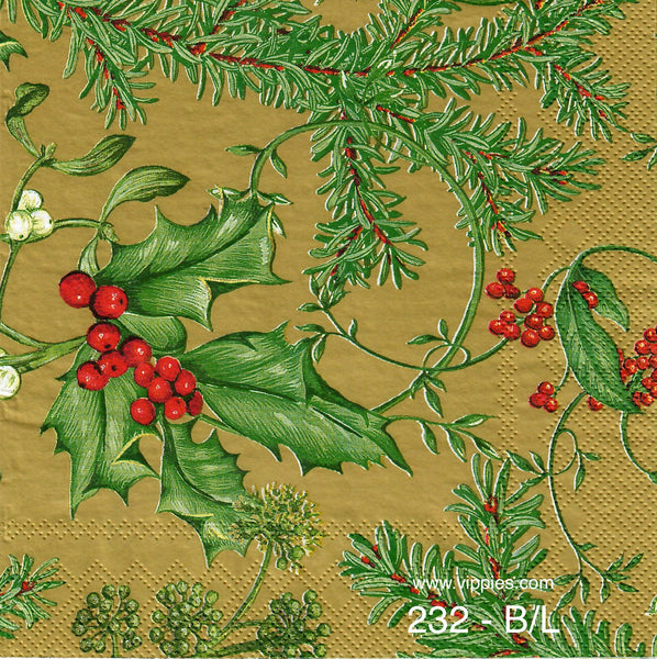 C-232 Holly Berries Gold Napkin for Decoupage