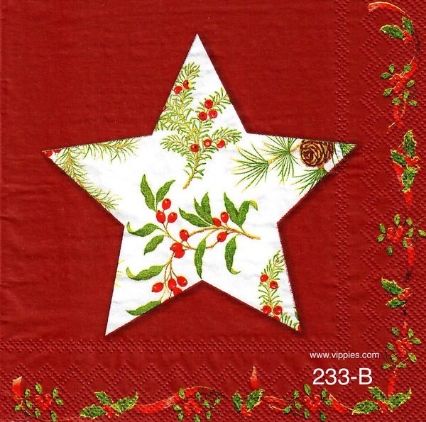C-233 Holly Star Napkin for Decoupage
