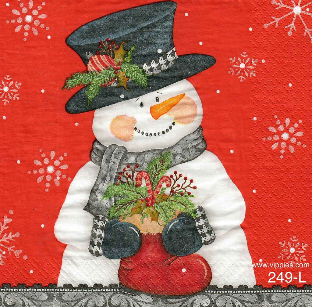 C-239 Snowman w Red Boot Napkin for Decoupage