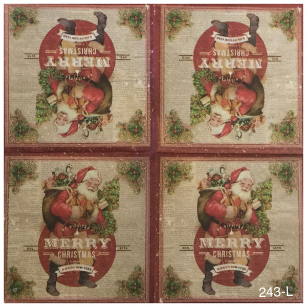 C-243 Santa Merry Christmas Pack Napkin for Decoupage