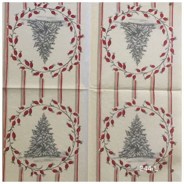 C-244 Christmas Tree in Wreath Napkin for Decoupage